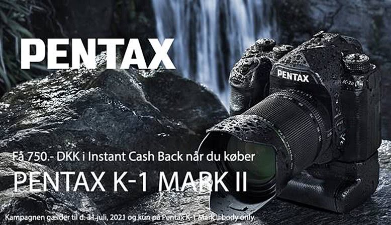 Få en instant cashback på 750,- kr. ved køb af Pentax K-1 Mark II hus inden den 31. juli 2021