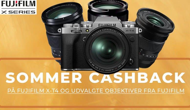 Få 1.500 kr. i cashback på X-T4 hus eller kit, eller 1.000 ,- kr. på udvalgte XF-zoom-objektiver.